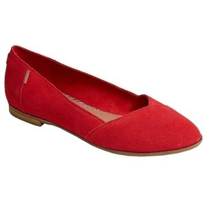 Toms Red Poinsettia Julie Suede Almond Toe Flats